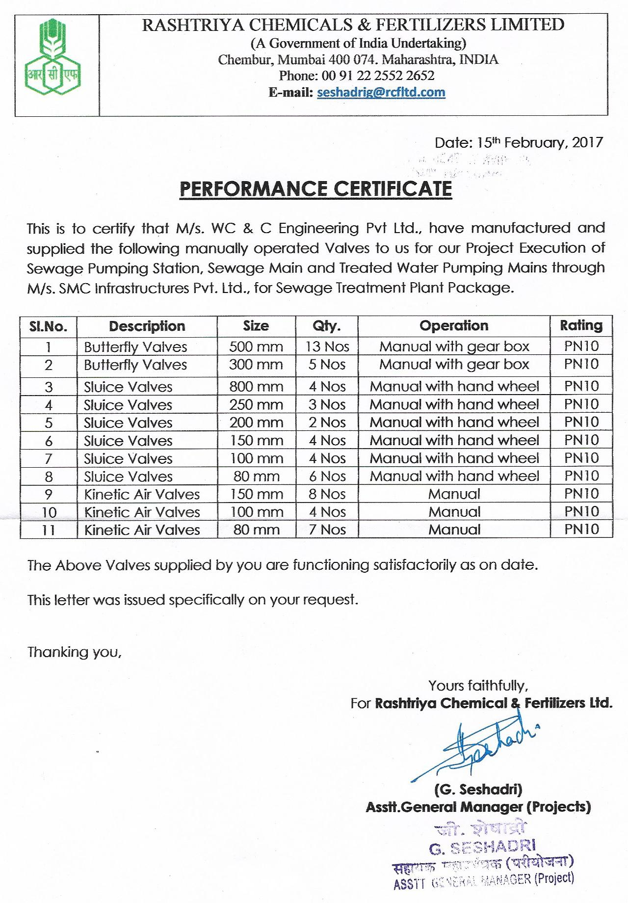 RCF Performance Certificate
